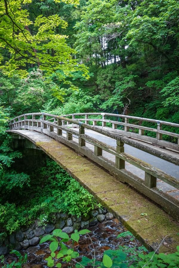 Traditional japanese wooden bridge in Nikko, Japan stock photo
