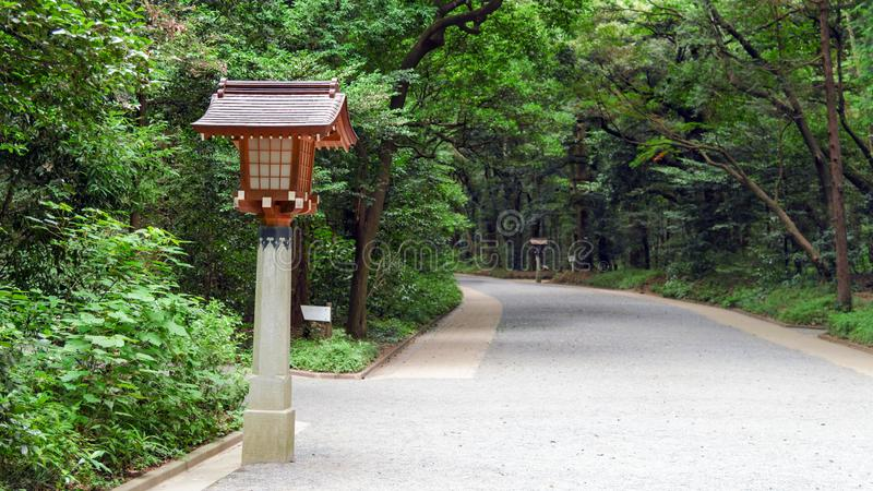 Traditional Japanese wooden lantern on pathway in Meiji-Jingu Shrine, Tokyo, Japan royalty free stock photo