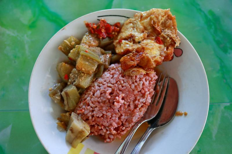 Traditional Javanese food containing red rice with eggplant and egg dishe. S, cooked in spicy Javanese cuisine plus sambel uleg from red chili royalty free stock photos
