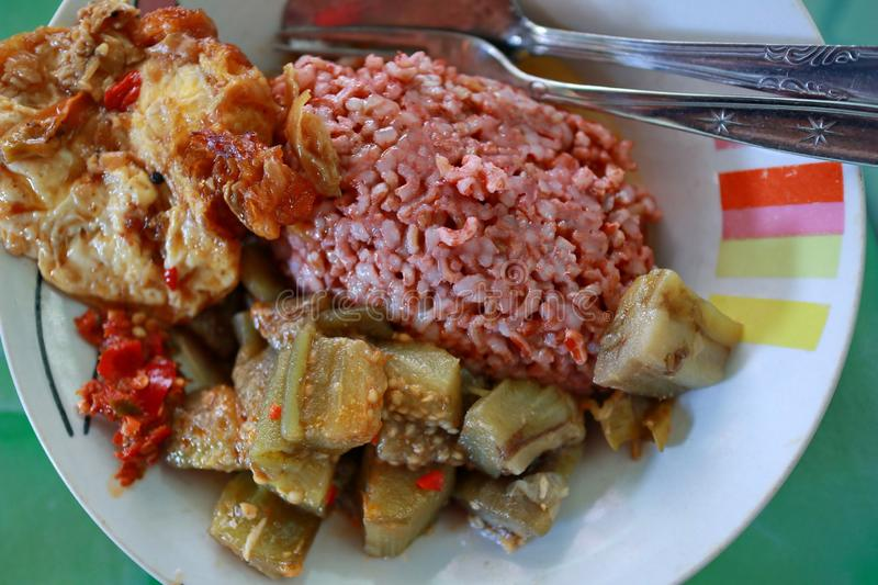 Traditional Javanese food containing red rice with eggplant and egg dishe. S, cooked in spicy Javanese cuisine plus sambel uleg from red chili royalty free stock photography