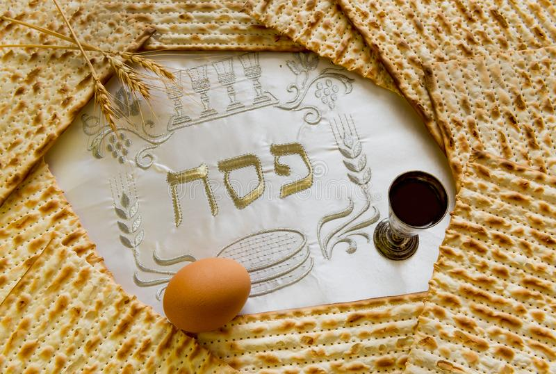 Traditional Jewish food and drink for Jewish Passover - Pesach holiday. Close up of kosher meal symbolizing ritual of holiday event designated for Jewish royalty free stock photo