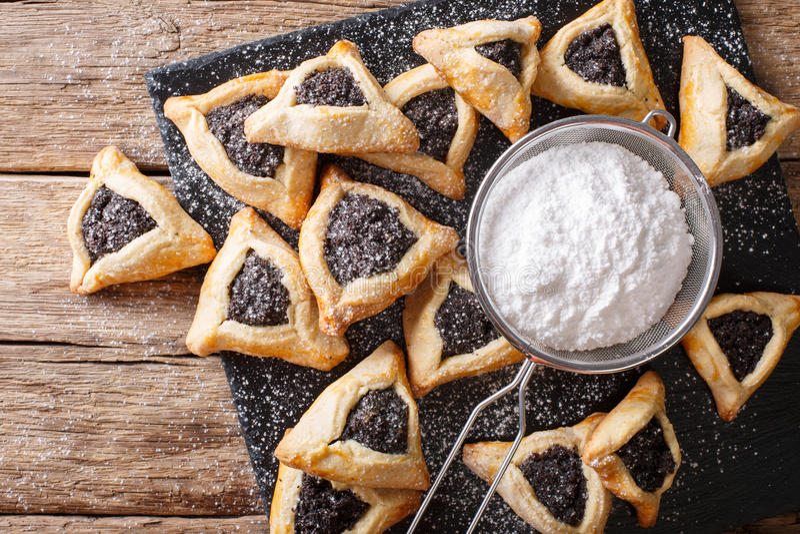 Traditional Jewish holiday food - Purim Hamantaschen close-up. h stock photos