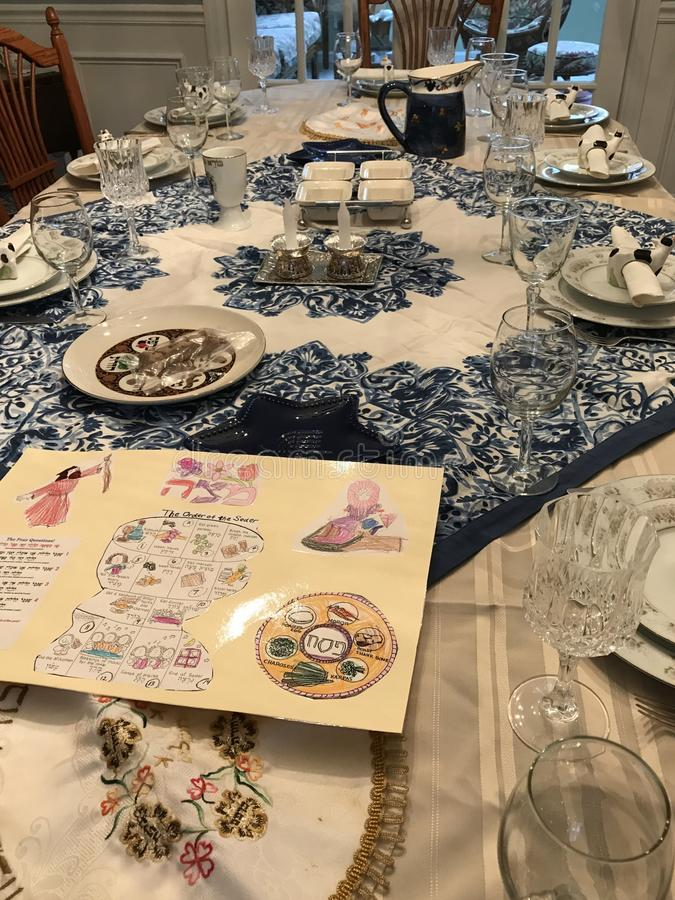 Traditional Jewish Passover dinner table setting stock images