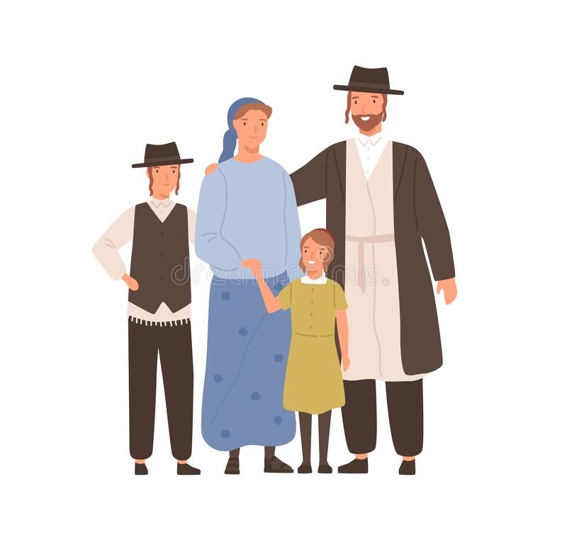 Free Traditional Jews Smiling Cartoon Family Vector Flat Illustration. Colorful Jewish Mother, Father, Son And Daughter Royalty Free Stock Photos - 180082858