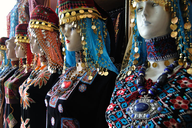 Traditional Jordanian costumes stock photo