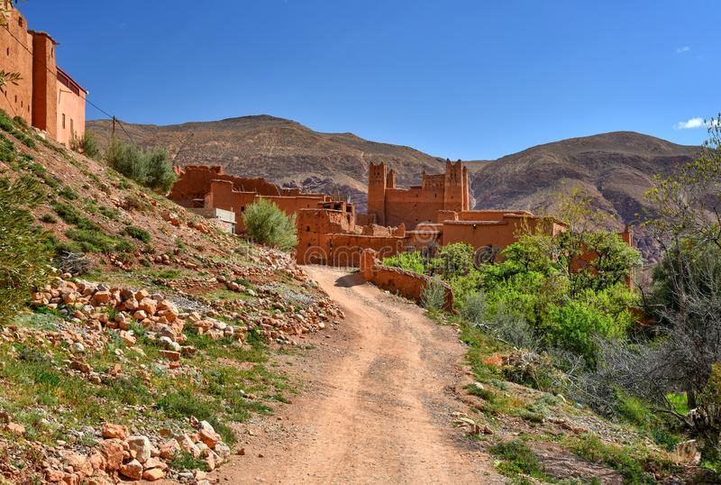 Traditional kasbah in Morocco countryside landscape royalty free stock photography