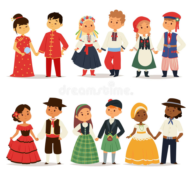 Traditional kids couples character of world dress girls and boys in different national costumes and cute little children royalty free illustration