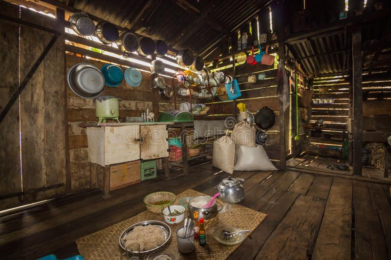 Traditional kitchen of a hut of native people of indonesia. Kalimantan royalty free stock photo
