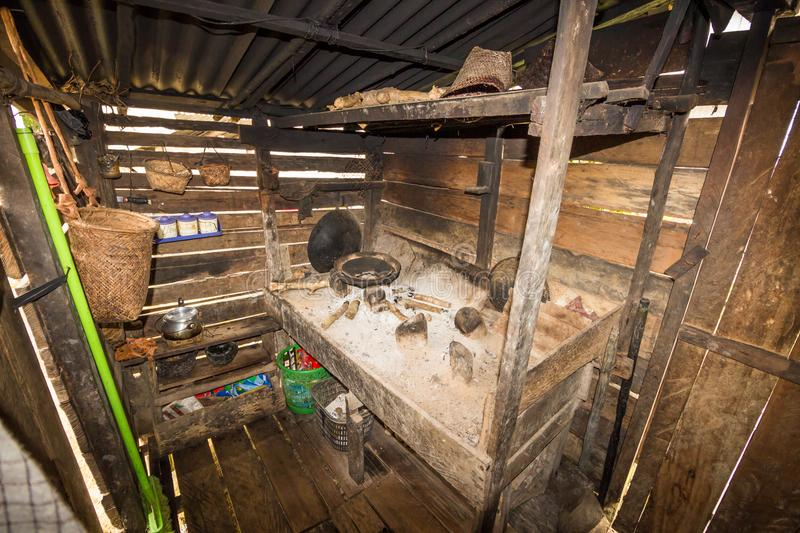 Traditional kitchen of a hut of native people of indonesia. Kalimantan stock photos
