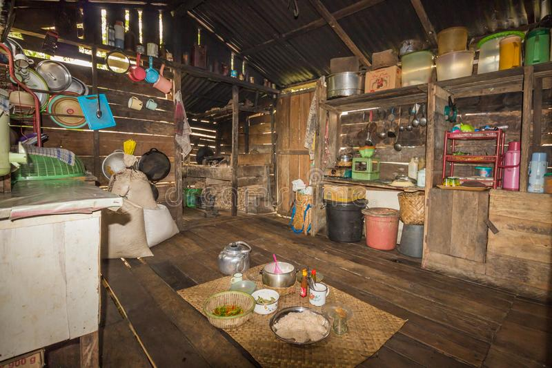 Traditional kitchen of a hut of native people of indonesia. Kalimantan stock photography