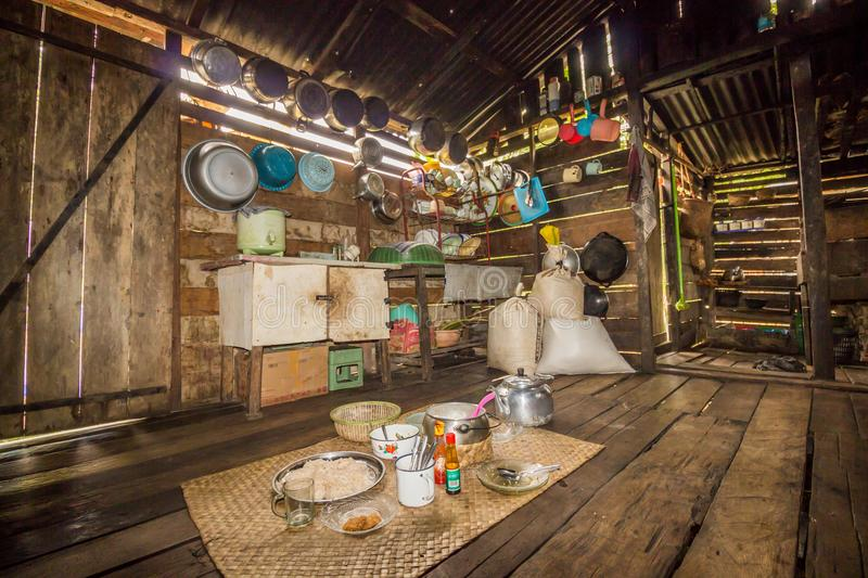 Traditional kitchen of a hut of native people of indonesia. Kalimantan stock photo