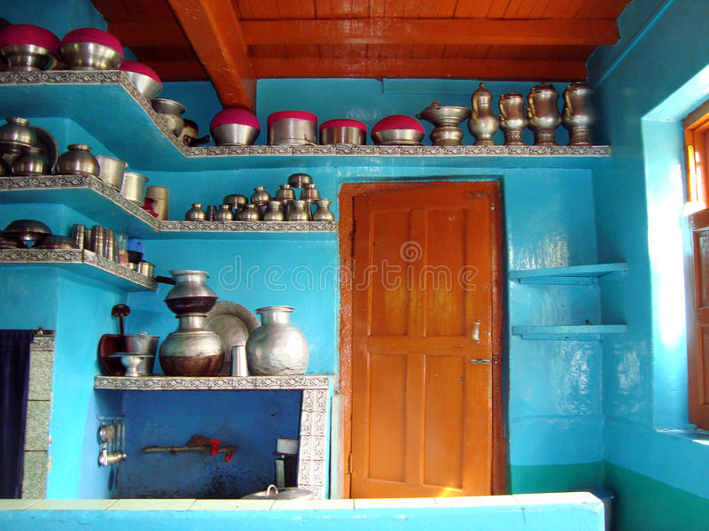 Traditional Kitchen of Kashmiris, Srinagar, India. View of traditional Kitchen of people of kashmir, Srinagar, Kashmir, India, Asia royalty free stock photography