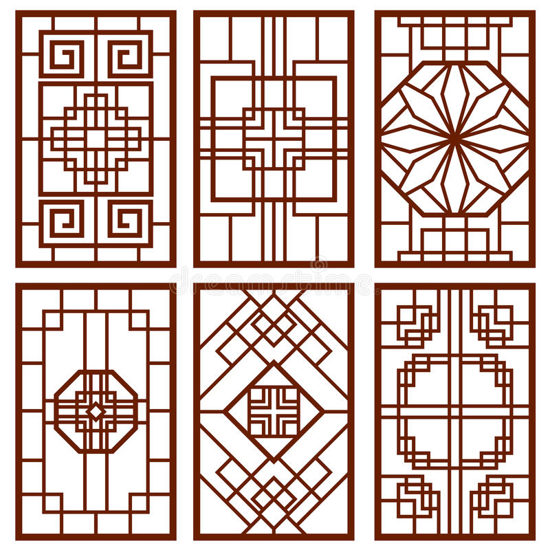 Traditional korean door and window ornament, chinese wall design, japan frames vector set. Traditional chinese decoration illustration royalty free illustration