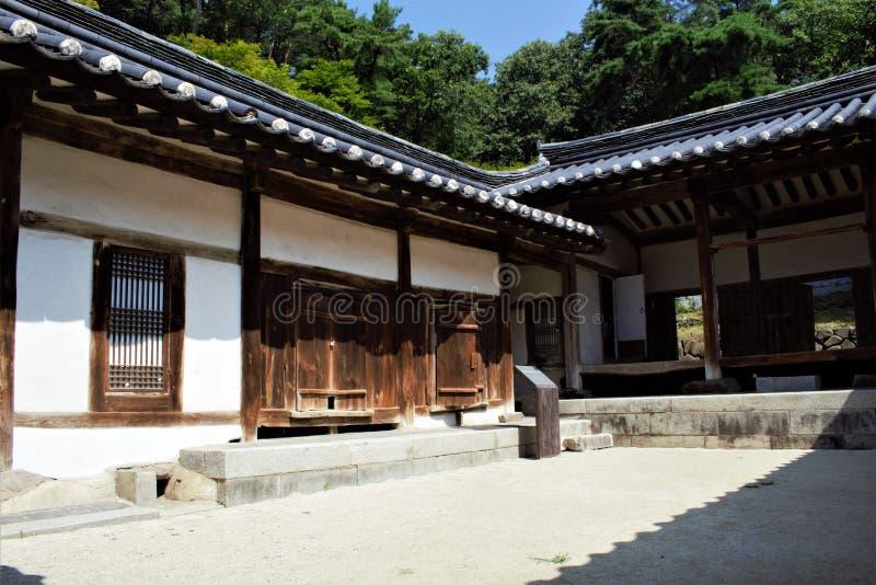 Traditional Korean house Hanok in Dosan Seowon Confucian academy near Andong, Korea. Traditional Korean house Hanok in Dosan Seowon Confucian academy near Andong royalty free stock photos