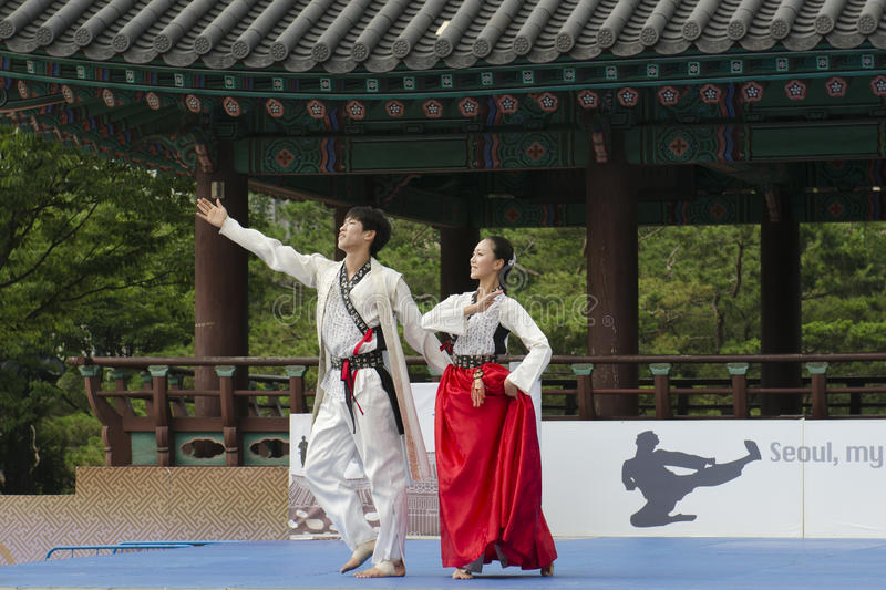 Traditional Korean Martial art Performance and Experience Event show . stock photography