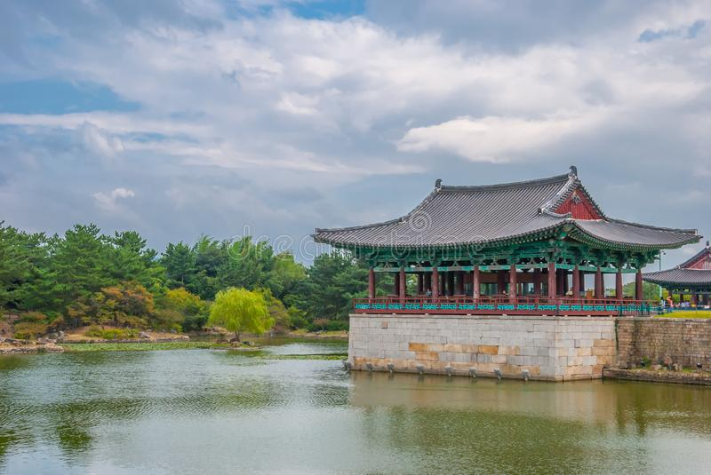 Traditional Korean Palace and Pond. Kyongju, South Korea - September 26, 2009 : Donggung Palace and Wolji Pond is an artificial pond in Gyeongju National Park royalty free stock photos