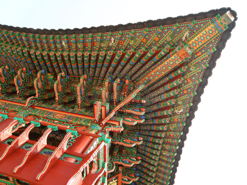 Traditional Korean Style Multi color Decorated Ceiling and Roof of the Buddhism Temples stock photos
