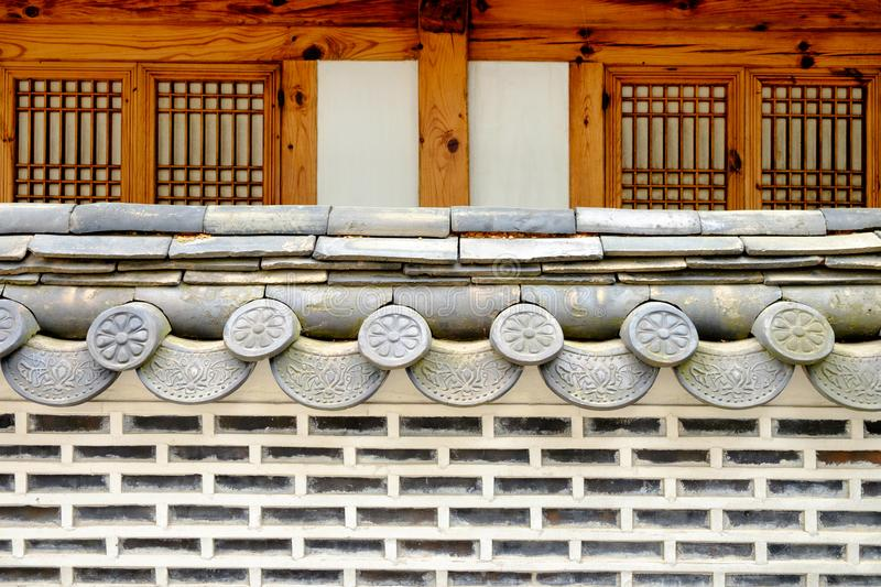 Traditional Korean style wall and roof stock photos