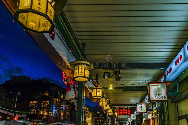 Traditional Lamps, Gion District, Kyoto, Japan. KYOTO, JAPAN, JANUARY - 2019 - Architectural detail view urban scene at traditional touristic street of gion stock photography