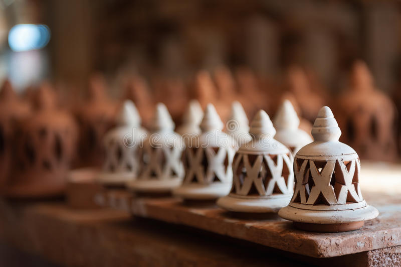 Traditional lamps handmade pottery Safi Morocco. Traditional handmade lamps made of clay. Pottery made by traditional method by stock image
