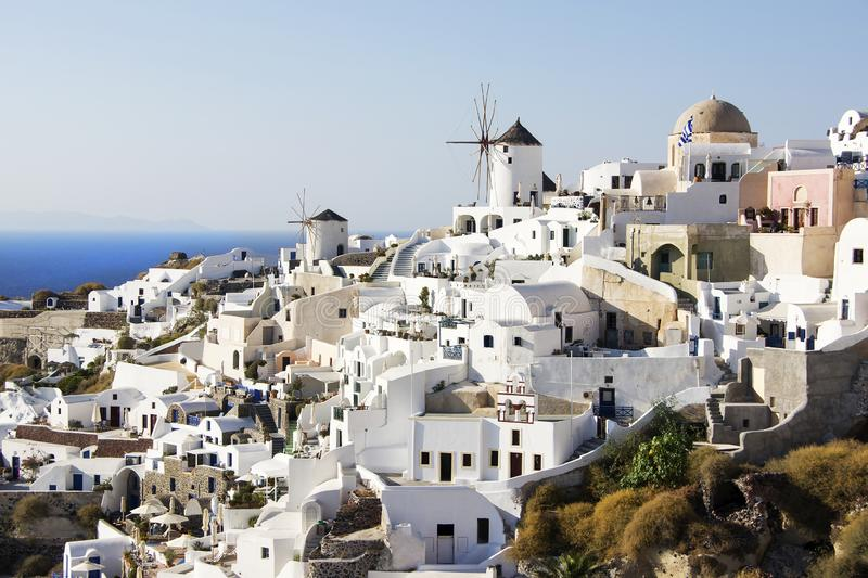 Traditional landscape in Oia on Santorini island, Greece by sunny day stock photo