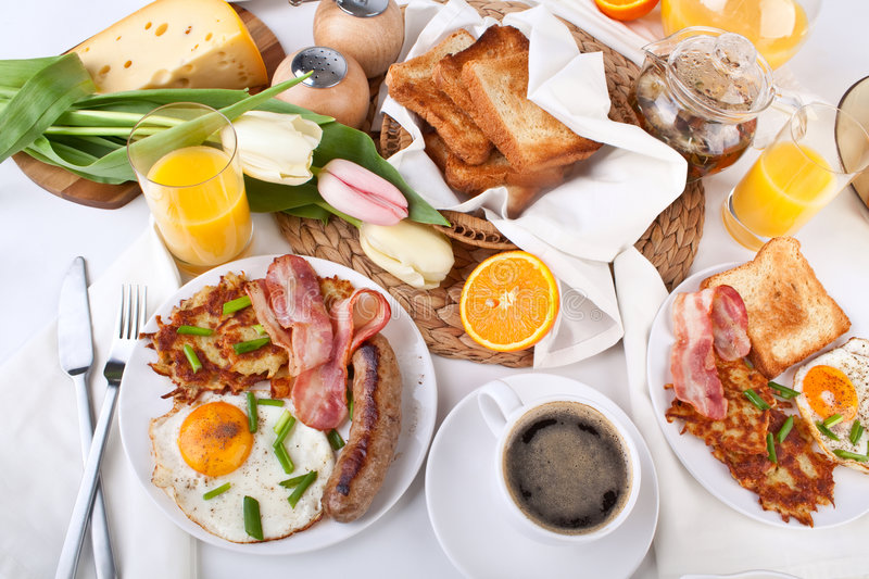 Traditional large American breakfast royalty free stock photo