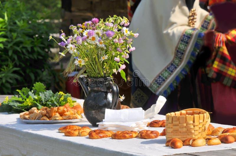 Traditional latvian events Ligo. Outdoor meal stock photos