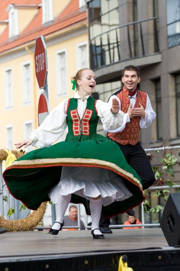 Traditional Latvian folk dancing stock photos