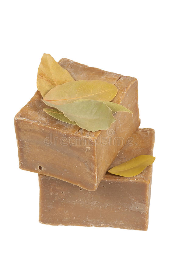 Traditional laurel soaps, isolated stock photo