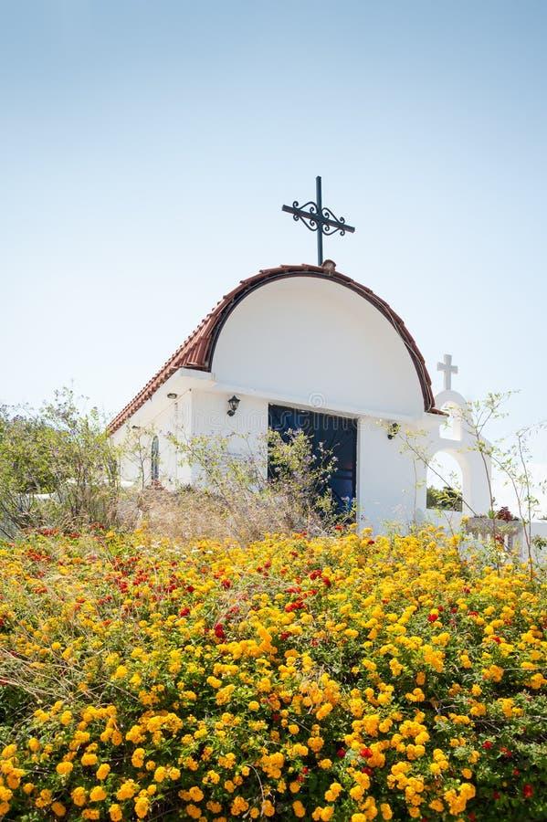 Traditional small whitewash Greek Orthodox Chapel. Greece. Europe stock image