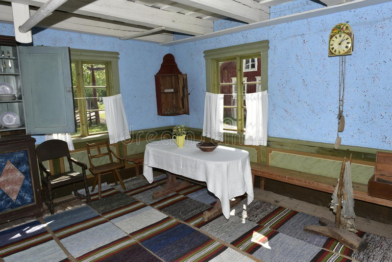 Traditional Living Room in the Open-Air Village Museum near Kastelholm Castle, Sund, Aland, Finland. stock images