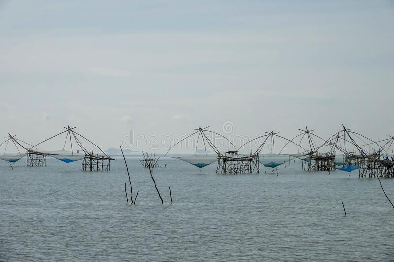 Traditional Local Fishing Trap also Known as Yor Building at Pakpra Phatthalung Thailand near Thale Noi Lake stock image