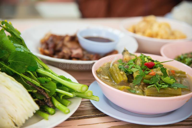 Traditional local Northern Thai style food meal royalty free stock images