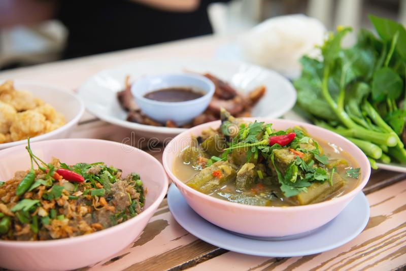 Traditional local Northern Thai style food meal royalty free stock photo