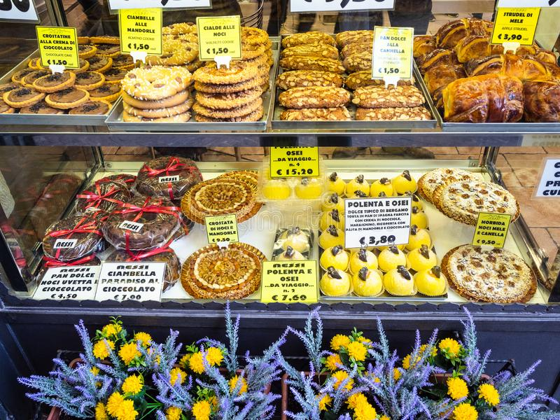 Traditional local sweets in Bergamo city royalty free stock photos