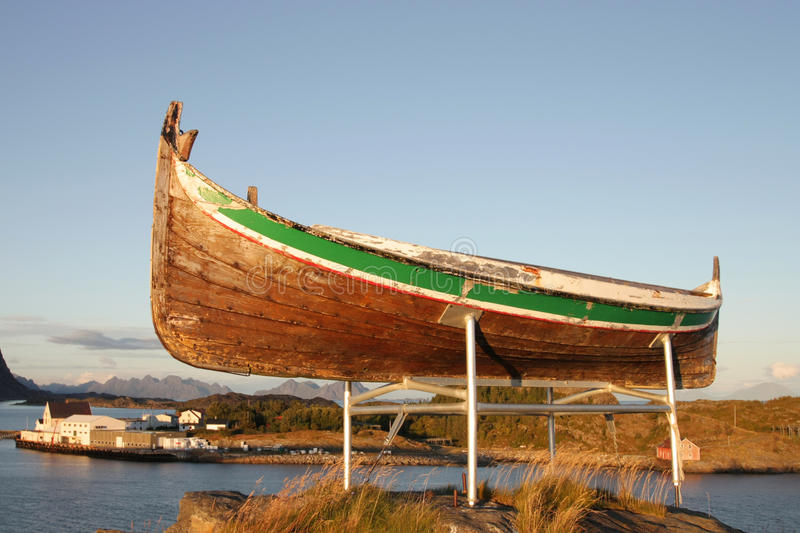 Traditional Lofoten's boat on sunset royalty free stock photo