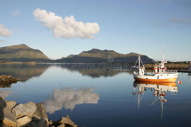 Traditional lofoten's fishig boats stock photos
