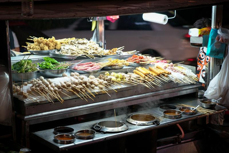 Traditional lok lok street food in South East Asia royalty free stock image