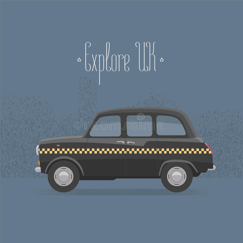 Traditional London, UK, Britain black taxi cab vector illustration royalty free illustration