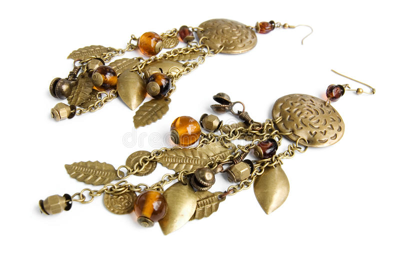 Traditional long Eastern earrings royalty free stock photography