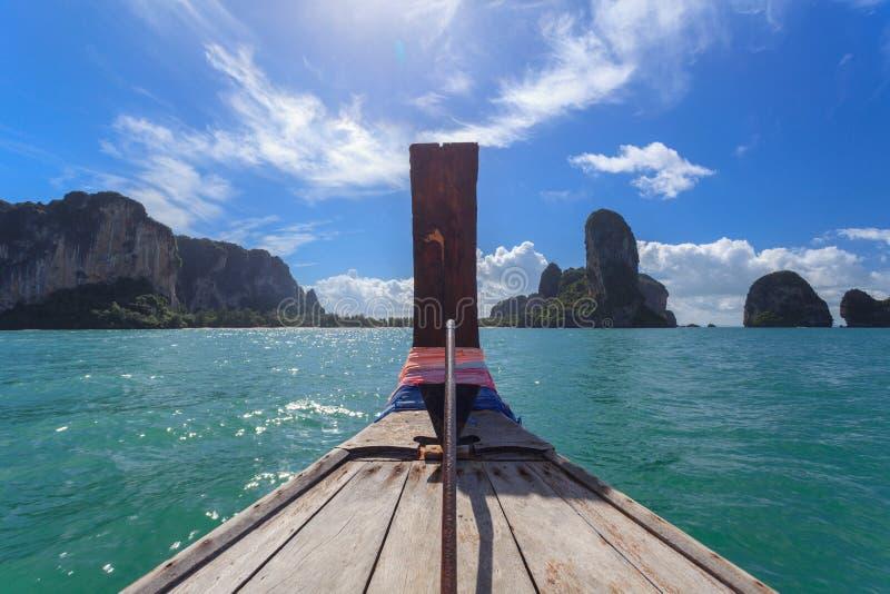 Traditional Long-tail boat tour at Krabi stock photo
