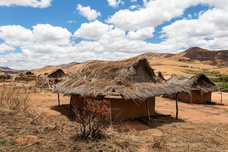 Traditional Madagascar hill landscape. Traditional Madagascar vilage Mahatsinjo in hill. Deforestation in Madagascar creates agricultural or pastoral land but royalty free stock photos