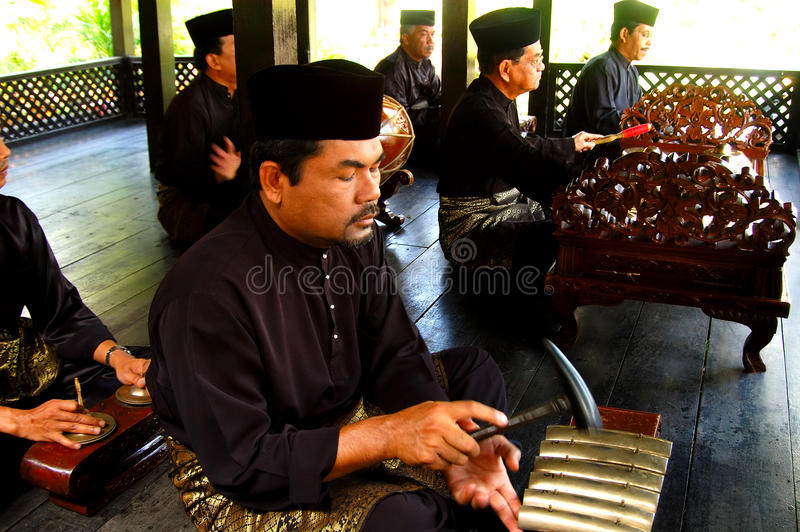 Traditional Malay music. And performing arts appear to have originated in the Kelantan-Pattani region with influences from India, China, Thailand and Indonesia royalty free stock image