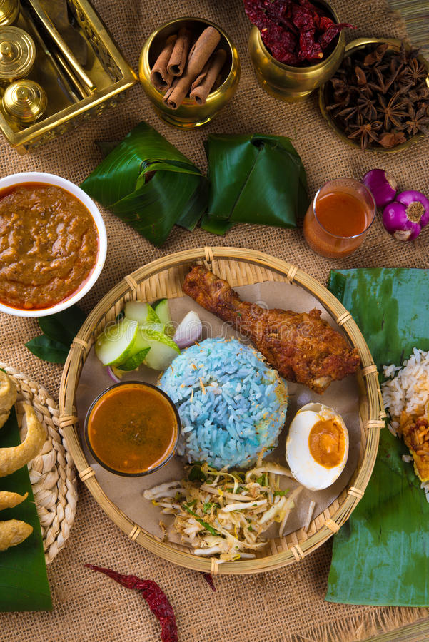 Traditional malaysian food nasi kerabu is a type of nasi for Authentic malaysian cuisine