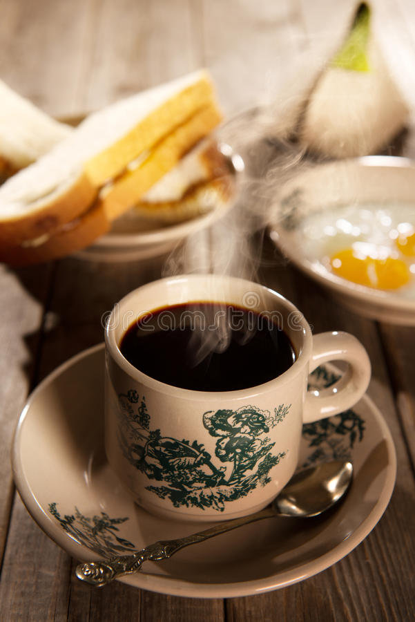 Traditional Malaysian Hainan coffee and breakfast stock image