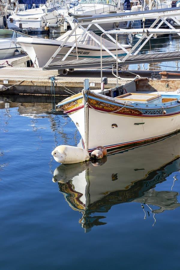 Traditional Maltese Luzzu boat royalty free stock photos