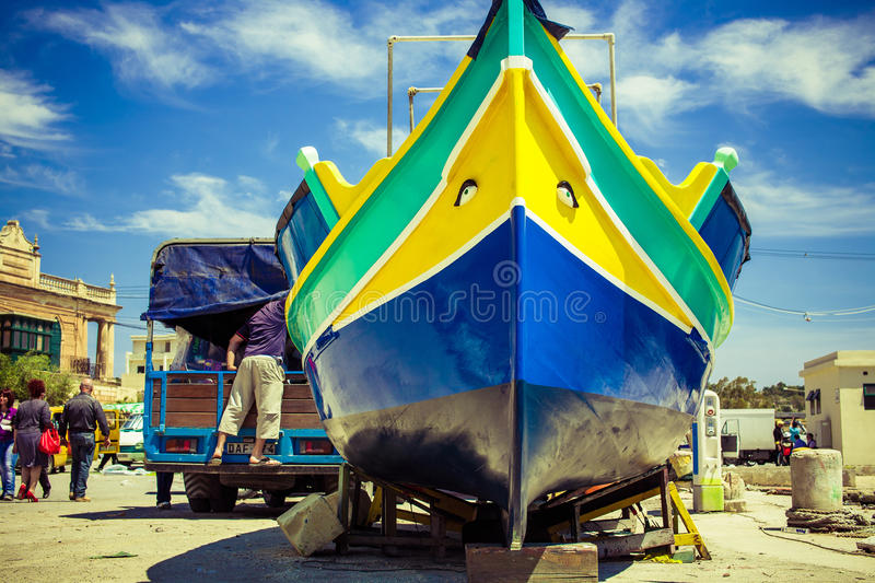 A traditional Maltese luzzu fishing vessel royalty free stock photography