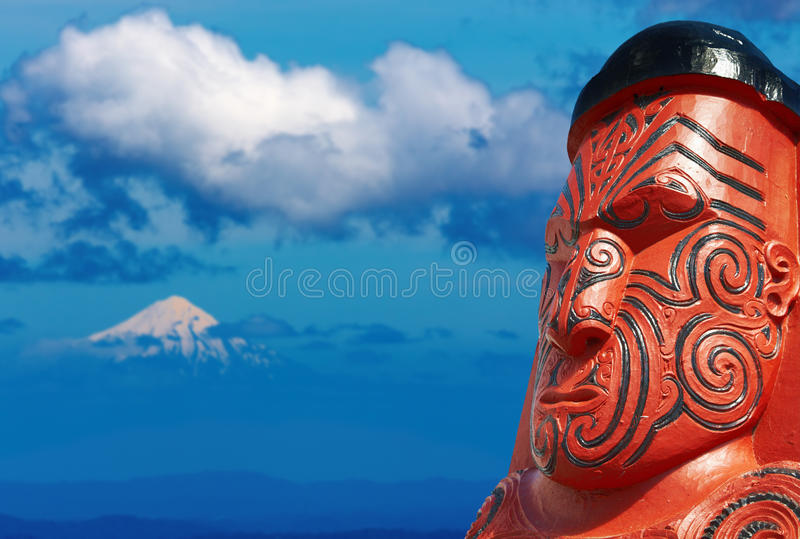 Traditional maori carving, New Zealand royalty free stock photography