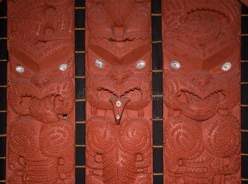 Maori wood carvings. Traditional maori wood carvings, Auckland museum, New Zealand stock photography