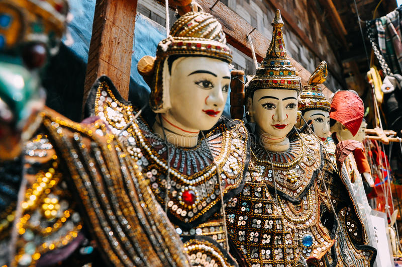 Traditional marionettes hanging in Bagan. royalty free stock photos